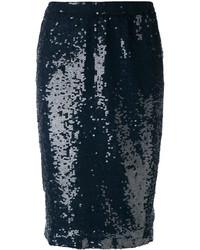 Falda Lápiz de Lentejuelas Azul Marino de P.A.R.O.S.H.