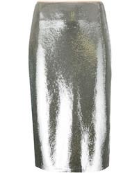 Falda lápiz de lentejuelas plateada de Diane von Furstenberg