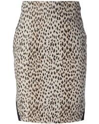 Falda lápiz de leopardo en beige de Diane von Furstenberg