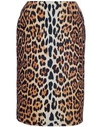 Falda lápiz de leopardo marrón