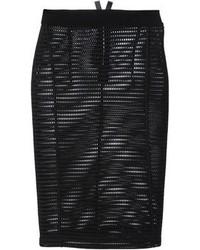 Falda lápiz de malla negra