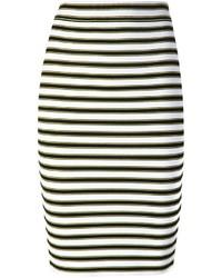 Falda lápiz de rayas horizontales en blanco y negro de A.L.C.