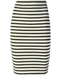 Falda lápiz de rayas horizontales en negro y blanco de A.L.C.