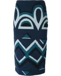 Falda lápiz estampada azul marino de Burberry