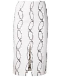 Falda lápiz estampada blanca