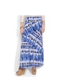 Falda larga con estampado geométrico en blanco y azul