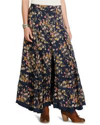 Falda larga con print de flores azul marino