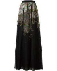 Falda larga con print de flores negra de Giambattista Valli