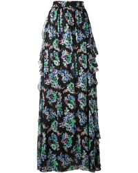 Falda larga con print de flores negra de MSGM
