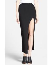 Falda larga con recorte negra