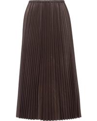 Falda larga de cuero plisada negra