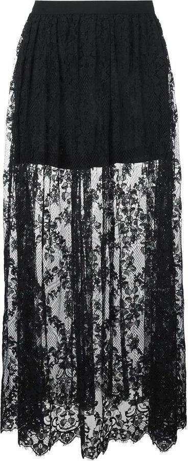 0e92027a2 Falda larga de encaje negra de Elie Saab