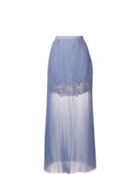 Falda larga de encaje plisada celeste de Ermanno Scervino