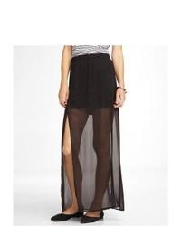 2f47a32b4 Comprar una falda larga de gasa con recorte negra  elegir faldas ...