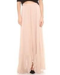 Falda larga de gasa rosada