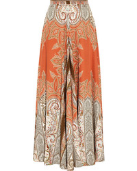 Falda larga de paisley naranja
