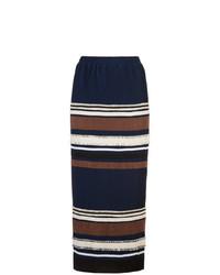 Falda larga de rayas horizontales azul marino de Derek Lam