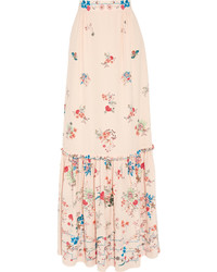 Falda larga de seda con print de flores en beige