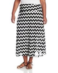 Falda larga estampada en negro y blanco de Star Vixen