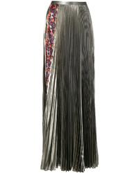 Falda larga plisada dorada de Versace