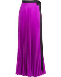 adaab2f516 Comprar una falda larga plisada morado  elegir faldas largas ...