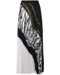 Falda larga plisada negra de D-Exterior