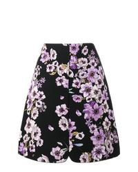 Falda línea a con print de flores negra de Giambattista Valli
