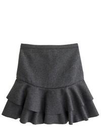 Falda línea a de lana en gris oscuro