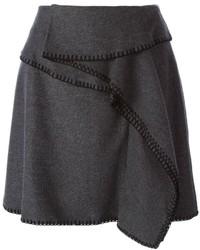 Falda Línea A de Lana Gris Oscuro de Kenzo