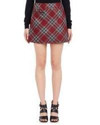 Falda línea a de tartán roja