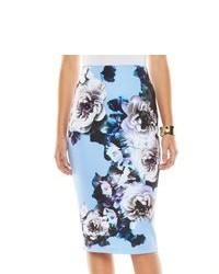 Falda midi con print de flores azul