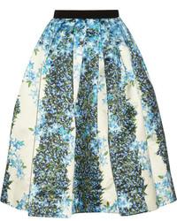 Falda midi con print de flores en beige