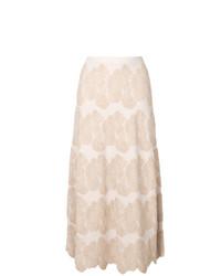 Falda midi con print de flores en beige de D-Exterior