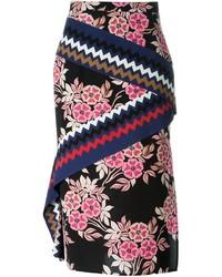 Falda midi con print de flores negra de MSGM