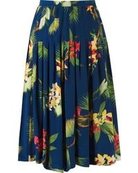 Falda midi con print de flores