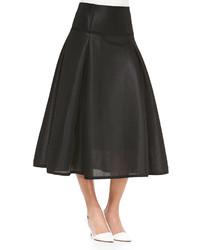 Falda midi con relieve negra