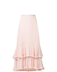 Falda midi con volante rosada de Chloé