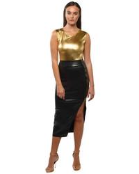 Falda midi de cuero con recorte negra