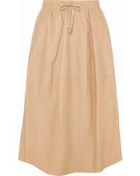 Falda midi de cuero marrón claro