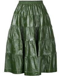 Falda midi de cuero plisada verde oscuro
