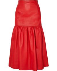 Falda midi de cuero roja