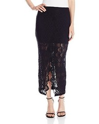Falda midi de encaje negra de Nightcap