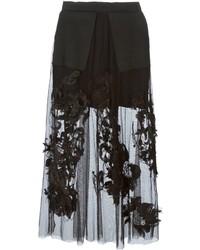 Falda midi de encaje plisada negra de Aviu