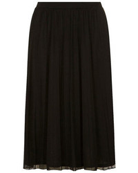 Falda midi de gasa negra