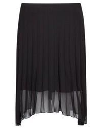 Falda midi de gasa plisada negra