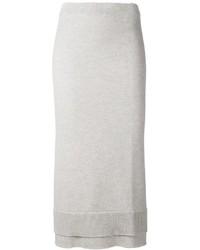 Falda Midi de Lana Gris de Victoria Beckham