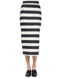 Falda midi de rayas horizontales en blanco y negro