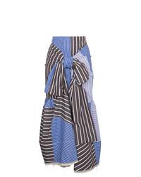Falda midi de rayas verticales azul de Marni