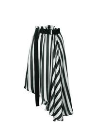 ... Falda midi de rayas verticales en blanco y negro de Ann Demeulemeester be7be678ce58