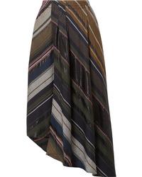 Falda midi de rayas verticales en multicolor